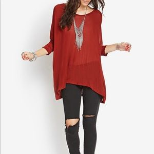 Tops - Brick oversized loose fit knit tunic top